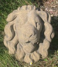 Relief Wandbild Löwenkopf Löwe mittel Antik Look Sandstein Steinguß E 06 GRAU
