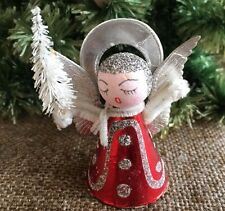 Vintage 1950s Red Foiled ANGEL with White Brush Tree Feather Tree Topper, Figure