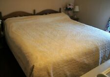 "Vintage Off White Chenille Bedspread Blanket  94"" X 114""  Fringed Reverseable"
