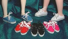 """DOLL Shoes, SLIM  58mm WHITE Lo Back Sneakers fit 14"""" Kish, Flat Foot Cissy"""