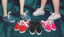 "DOLL Shoes, SLIM 58mm BLACK Lo Back Sneakers fits 14"" Kish, Flat Foot Cissy"