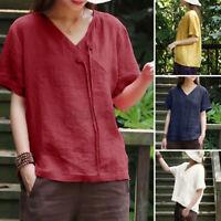 ZANZEA Femme T-shirt Manche Courte Coton Col en V Décontracté lâche Haut Plus