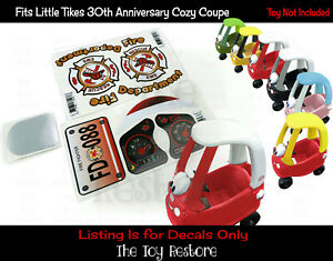 Firetruck Fire Replacement Stickers fits Little Tikes Tykes Cozy Coupe 30th