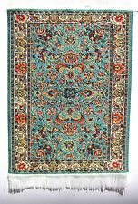 SMALL Woven TURKISH RUG [7C]TURQUOISE/CREAM FLORAL dolls house MINIATURE carpet