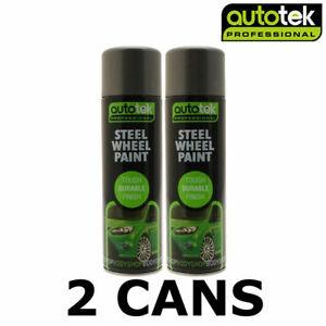 2 x AUTOTEK Professional Steel Wheel Paint 500ml Spray Paint High Coverage