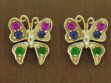 E098 - 9ct Gold Natural Ruby,Emerald, Sapphire & Diamond Butterfly Stud Earrings