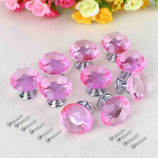 10pcs 30mm Crystal Diamond Glass Door Knob Drawer Cabinet Furniture Handle Pink