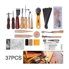 37PCS Leather Craft Punch Tools Kit Stitching Carving Working Sewing Groover