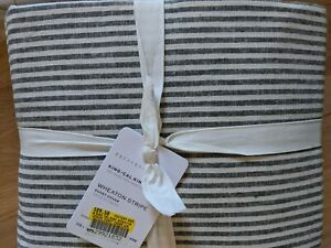 Pottery Barn Wheaton Stripe King Duvet Cover Gray New Linen Cotton Ticking