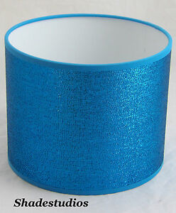 """Hand Made 8"""" Turquoise Shimmer Lampshade With White PVC Inner"""