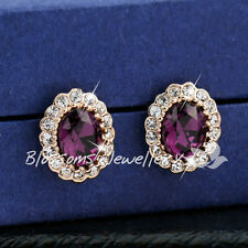 9K 9CT GOLD GF Purple Amethyst Stud EARRINGS Swarovski CRYSTAL ES327-1L Womens