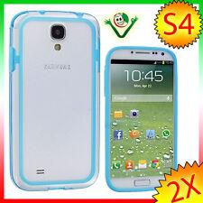 Pellicola+BUMPER Azzurro per Samsung Galaxy S4 SIV i9505 cover bordi laterale
