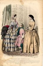 Stampa antica moda DONNE e BAMBINA 1854 Old Print Fashion Engraving
