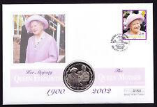 Delle Isole Vergini Britanniche Isole Vergini Britanniche STAMP & COIN COVER Regina Madre Memorial 2002 Royalty