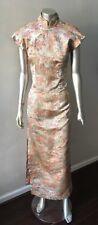 Cheongsam Oriental Wrap Vintage Gold Midi Sheath Studs Leg Split Party Dress M