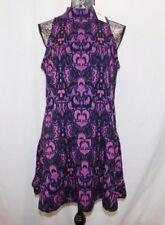 New! $118 Free People Purple Print Fit n Flare Dress.....M