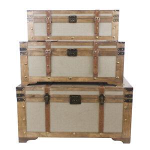 Set of 3 Vintage Wooden Rectangular Industrial Storage Trunks Walnut w/ Seagrass