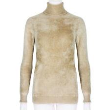 Dries Van Noten Golden Ultra-Soft Brushed Velvet Roll-Neck Jumper Sweater M UK10