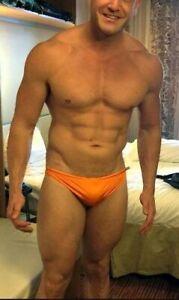 AUSSIEBUM MENS Original Classic 1.5 Briefs Trunks Nylon Size M 16 80-85cm Orange