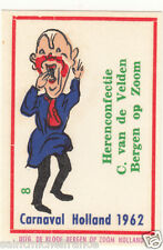 8. MATCHBOX LABEL 1962 CARNAVAL COSTUME NETHERLANDS PAYS BAS Carnival CARD 60s