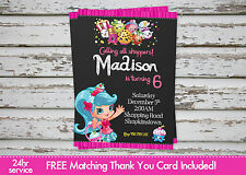 Shopkins Shoppies Party invitation printable with free matching Thank You card