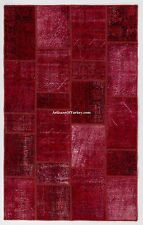 Red Color bespoke PATCHWORK Rug, Handmade from Overdyed Vintage Turkish Carpets