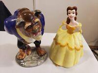 """Vintage Disney Beauty & The Beast Belle & The Beast 6.5"""" Figurines (Japan)"""