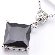 Florid Square Fire Black Onyx Gems Cubic Zirconia Silver Pendants Necklaces