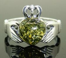 SILVER GREEN AMBER CLADDAGH RING SINGLE STONE 925 STERLING RING  3.2g SIZE N