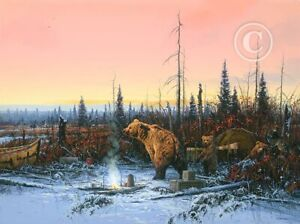 """""""Grizzly Bears in Camp"""" By John Paul Strain - S/N A.P. Executive Canvas Giclée"""