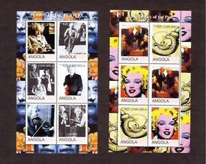 STAMPS ANGOLA 2 SHEETS EINSTEIN MONROE   CHESS MNH