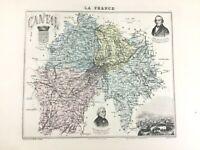 1893 Antik Map Of Cantal Aurillac Frankreich Französisch Region Alt Hand- Farbig