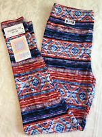Lularoe Leggings OS One Size Pants Yoga Chevron Tribal Blue Red Stripe Geometric