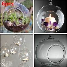 6X Clear Glass Baubles Hanging Balls Candle Tealight Holder Xmas Wedding Decor
