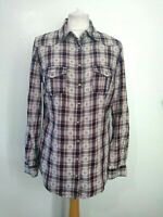 MARKS & SPENCER M&S Size 10 IVORY,BLUE,PEACH, Checked TAB SLEEVE Cotton SHIRT