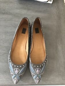 Frye Studded Suede Embroidered Flats 9.5
