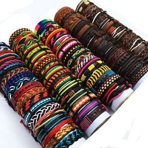 Random Mix Styles 30Pcs Braided Leather Bracelets Men's Women's Party Gift