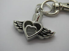 "CREMATION JEWELLERY URN PENDANT KEYRING ""HEART WITHIN A HEART, ANGEL WINGS"""