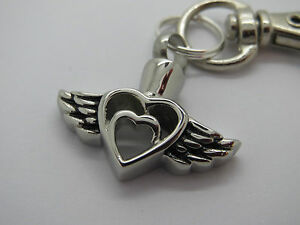 """CREMATION JEWELLERY URN PENDANT KEYRING """"HEART WITHIN A HEART, ANGEL WINGS"""""""
