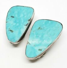 Vintage Signed NG Sterling Silver Navajo Native American Turquoise Clip Earrings