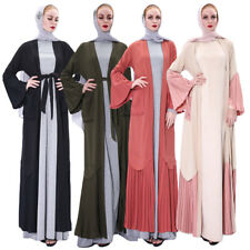 Muslim Women Open Cardigan Dress Dubai Lady Abaya Cocktail Maxi Kaftan Robe Gown