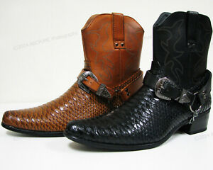 Brand New Mens Cowboy Boots Western Snake Skin Print Zippper Buckle Harness Shoe