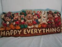 Vintage WDW Mickey Mouse Happy Everything! Holiday Wall Hanging Wall Plaque Rare
