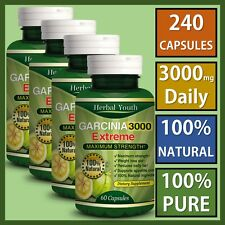 4 x BOTTLES 3000mg Daily GARCINIA CAMBOGIA 240 Capsules Weight Loss Diet Pills