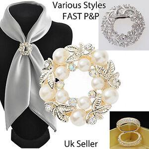 Crystal Pearl Silk Scarf Ring Clip Buckle Holder Brooch Scarf Jewellery-UKSELLER