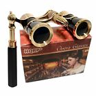 HQRP Black-Gold Opera Glasses Binoculars 3x25 Optics Coated Lens with Handle