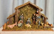 Vintage Christmas Hand Painted Porcelain Nativity - 11Piece Set - Stable Scene