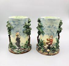Pair of pots / vase Old French barbotine Majolica Majolique school Palissy