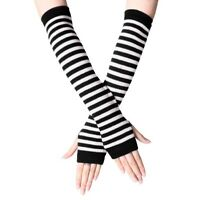 Black and White Striped Fingerless Thumb Gloves Arm Warmers Ladies Women Mittens