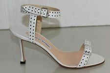 NEW Manolo Blahnik TRAGAMOD Leather Sandals Perforated Black Dots White Shoes 40
